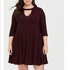 NWOT Burgundy Rib Mock Neck Skater/Sweater Dress